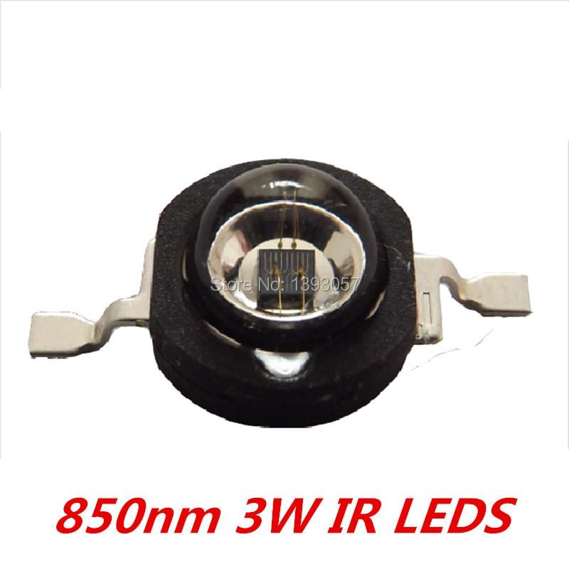100 Pcs 3W Infrared IR <font><b>850nm</b></font> High Power <font><b>LED</b></font> Bead Emitter DC1.8-2.2V CCTV Camera IR Diode for Security Black <font><b>LEDs</b></font>