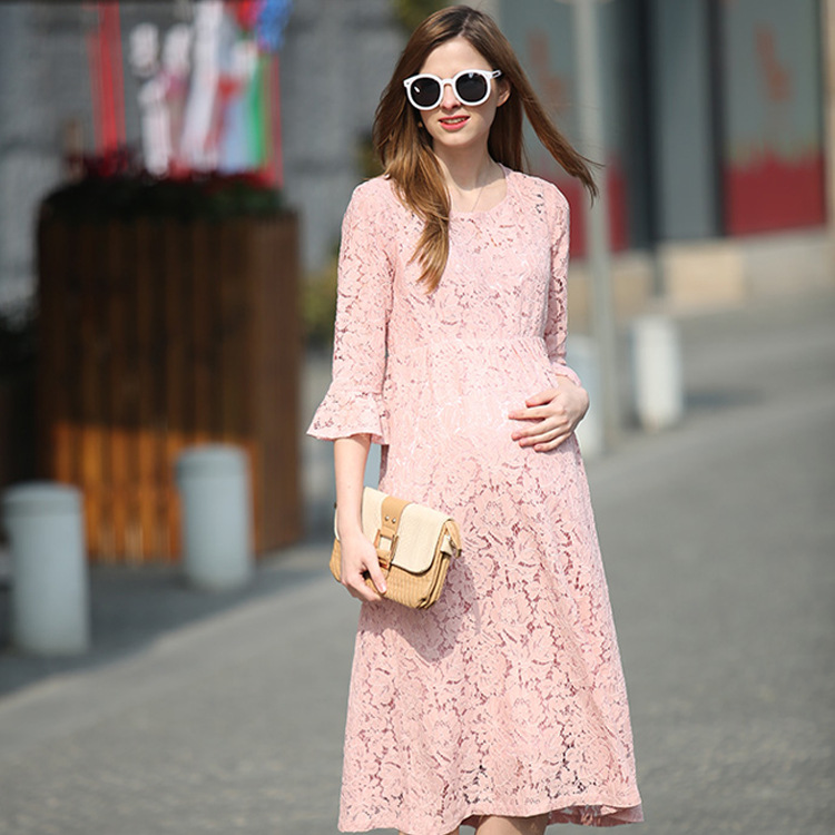 Fashion Dresses For Pregnant Women Pink Lace Horn Sleeve Maternity Dress O-neck Women Long Dresses Elegant Maternity Clothes ol style scoop neck long sleeve color block bodycon midi dress for women