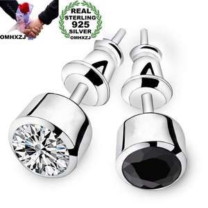 OMHXZJ Stud-Earrings Zircon 925-Sterling-Silver White Black Fashion Man Round AAA Party