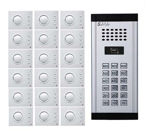 SMTVDP Intercom System Audio Door Phone for 18 apartments, 4-wired Audio Doorphone With Hand-free Indoor Units ,ID Card Unlock