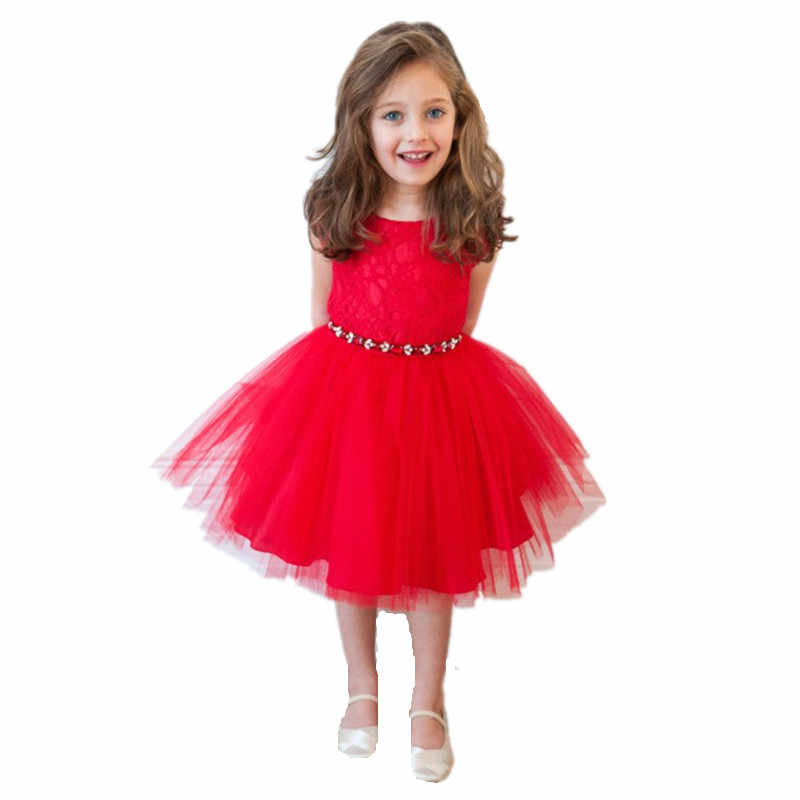 2018 New Summer Fashion Children Girls Lace Hook Flower Mesh Princess Dress  Cute Girl Party Red 9863913b7681
