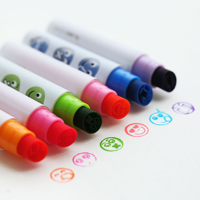 6 Pcs Lot Cute Face Show Highlighter Pen Stamp Marker Smile Cry Confused Express Highlight