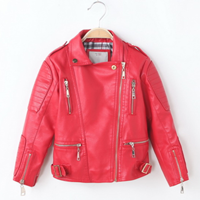 Autumn Spring Leather Jacket for Girls,Boys Leather Jacket,Advanced PU Imitation Leather Coat,Trim Fit Style clothing (3-12Yrs) advanced style