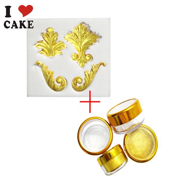 I LOVE CAKE 1 pcs Silicone Mold and 1 pcs 3g Golden Sugar Natural ...