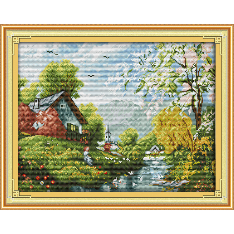 Everlasting love Beautiful river and sky Chinese cross stitch kits Ecological cotton stamped DIY New year Christmas decorations