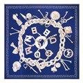 Европейская мода новая цепь письма череп шаблон большие квадратные шарфы 130*130