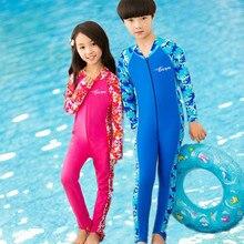 Niños de Manga Larga traje de Baño de Una Pieza del traje de Baño Anti-Ultravioleta YKK Cremallera Niñas Traje de Baño Los Niños Ropa de Playa traje de Baño Los Niños de La Muchacha Traje