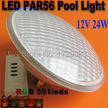 Baisse Prix! 2015 Par56 RGB Led Piscine lumière 24 W 351LED Fontaine Lampe Sous-Marine IP68 AC12V d'inondation + télécommande
