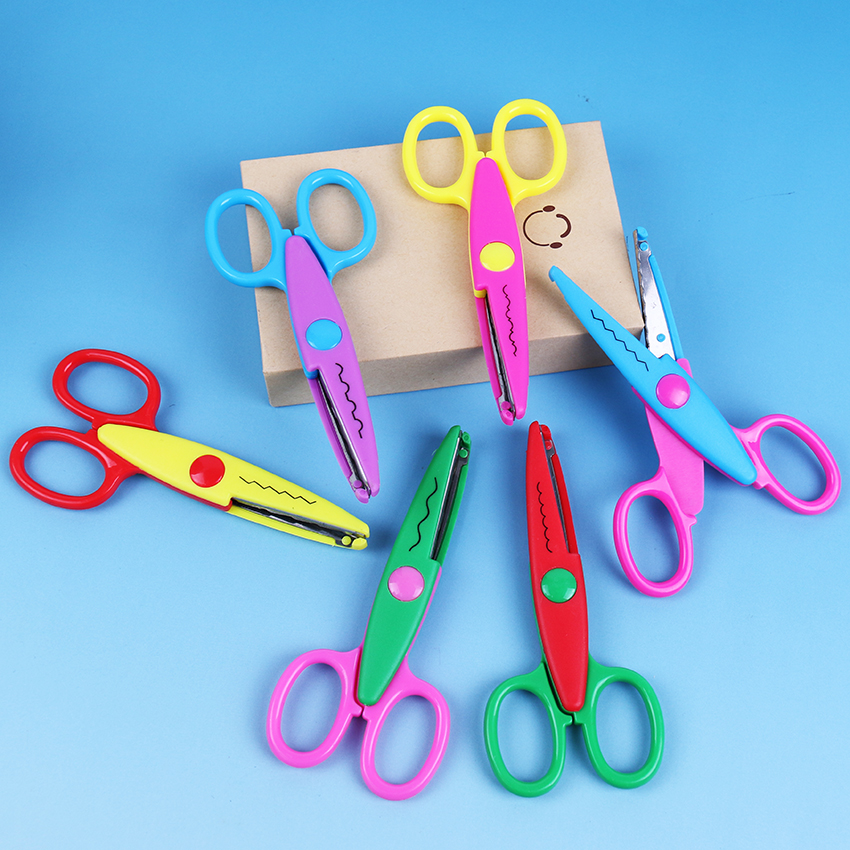6PCS DIY Tools 6 Patterns Laciness Kid DIY Scissors Scrapbook Paper Diary Decoration Safety Scissors
