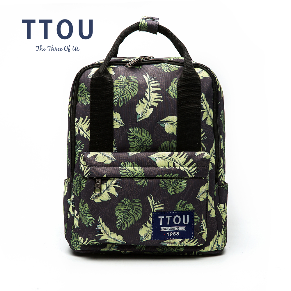 Ttou New Canvas Backpacks For Teenage Girls Fashion Leaves Printing Backpack Women Mochila