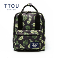 TTOU New Canvas Backpacks For Teenage Girls Fashion Leaves Printing Backpack Women Mochila Casual School Bag Travel Bag