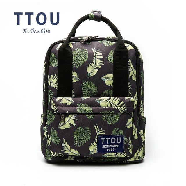 TTOU New Canvas Backpacks For Teenage Girls Fashion Leaves Printing Backpack  Women Mochila Casual School Bag 64cfa827eb