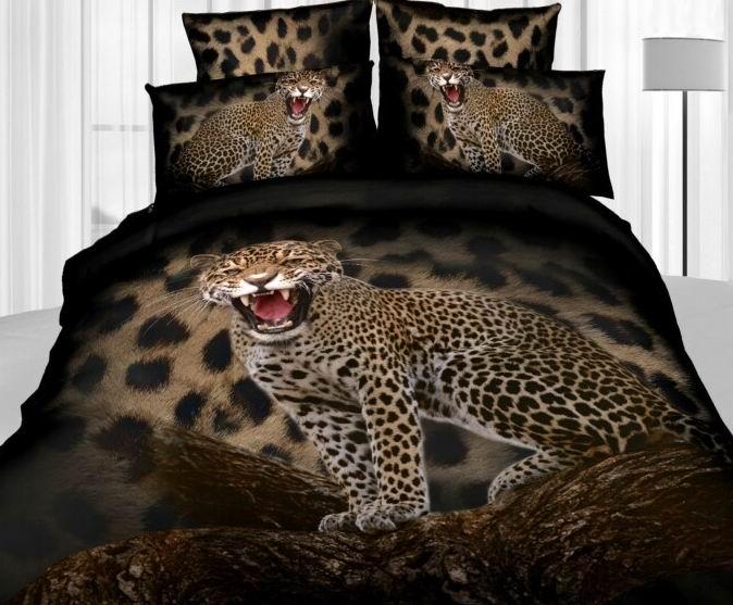 3D Leopard Animal Print Bedding Set Queen Size Duvet Cover