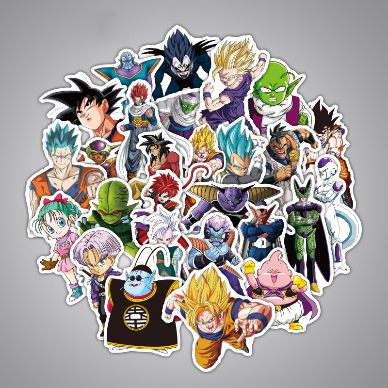 36pcs/lots Dragon Ball Super Saiyan on Mixed funny stickers on laptop sticker decal fridge skateboard doodle toy