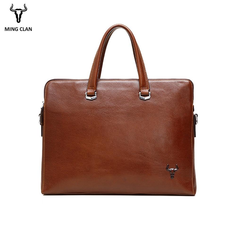 Mingclan Men Leather Document Briefcase Bags Business Laptop Tote Office Bag Men's Crossbody Shoulder Bag Messenger Travel Bags