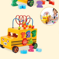 Educational Toy Sturdy Wooden Multifunctional Bus shape matching blocks around the bead car baby pull toys Drop shipping