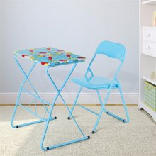 Home School Kids Study Writing Folding Table Chair Set Blue Painting Children Furniture Sets HW58953(China)