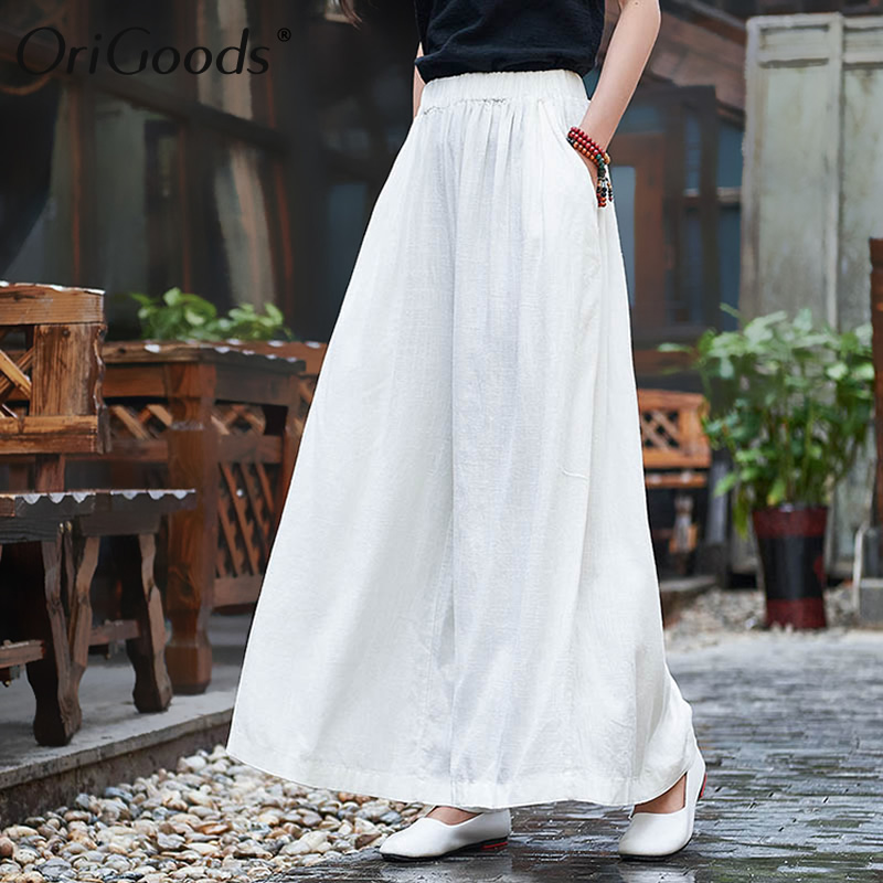 OriGoods Linen   Wide     leg     Pants   Women Elastic waist Skirt   Pants   Plus size   Wide     leg   Trousers Women Original Oversized   Pants   B192