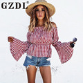 Red Plaid Fashion Long Flare Sleeve Women's Top Shirt Slash Neck Off Shoulder Blouse Casual Party Ruffles Blusas Stylish CL3203
