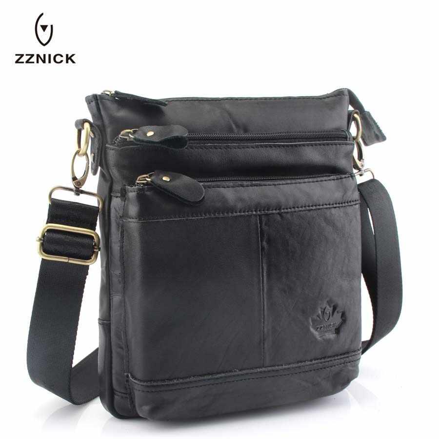 19eeba45326b ZZNICK 2018 Fashion Men Shoulder Bag Genuine Leather Messenger Bag Designer  Famous Brand Crossbody Bag For