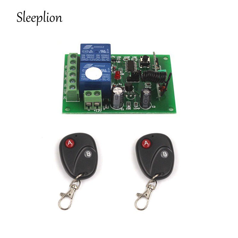 Sleeplion 12V 1 Channel 433Mhz 315MHz RF Wireless Relay Remote Control Momentary Light Switch Transmitter with
