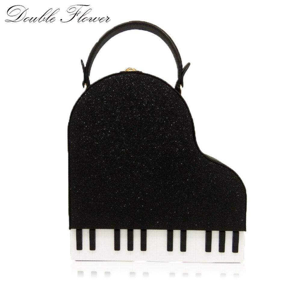 Двойной цветок фортепиано клавиатуры Черный Женская мода плечо и Crossbody Сумки кошельки дамы Повседневное клатч Сумки Сумка