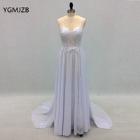 Romantic Beach Wedding Dress Boho Vintage Lace Sexy Split Backless Spaghetti Straps Chiffon Bridal Gown Plus