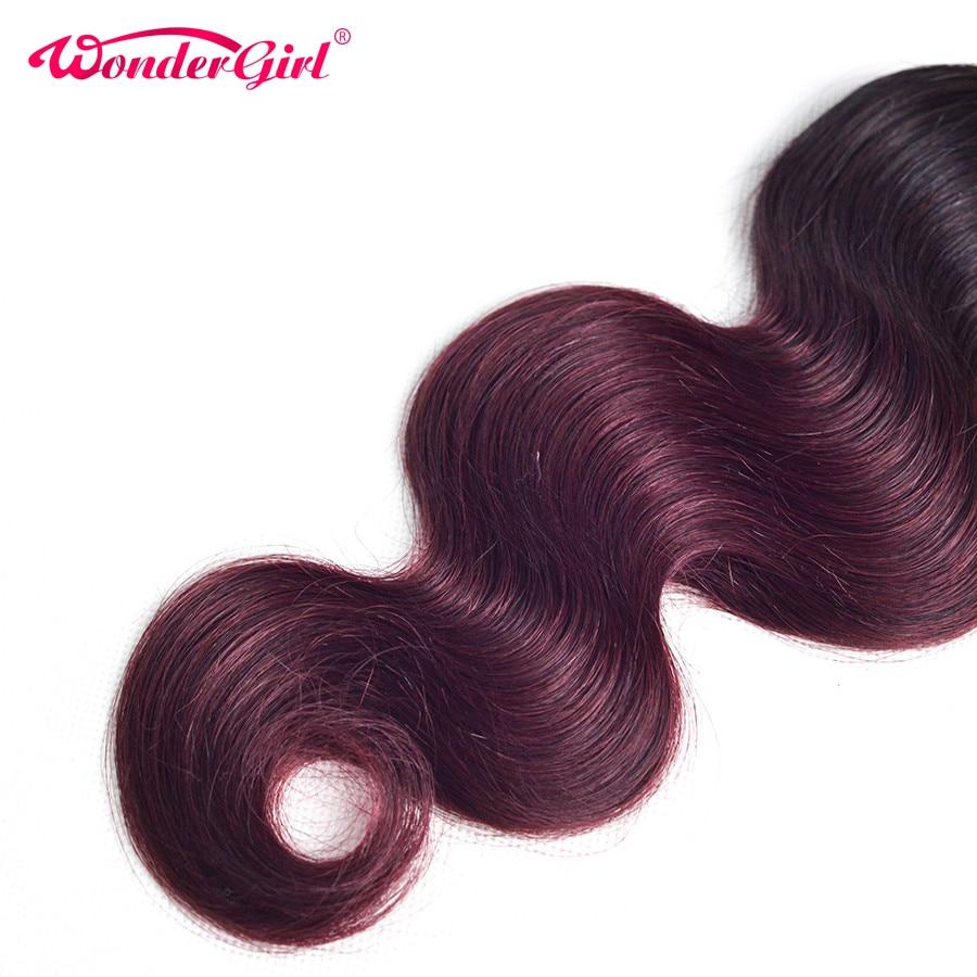 3 offres Bundle Bundles de cheveux Ombre Brésilien Body Wave 1B 99J - Cheveux humains (noir) - Photo 6