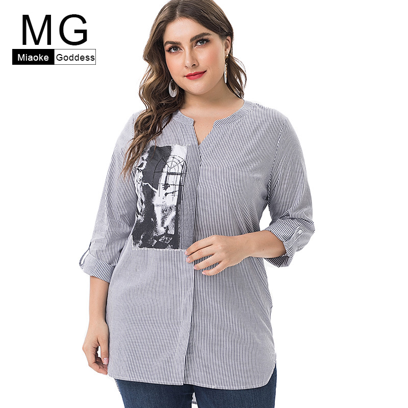 MG 2019 Summer new arrival Plus Size womens cotton tops and blouses fashion ladies elegant streetwear stripe blouses