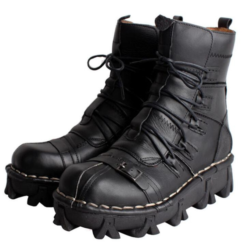 Winter Motorcycle Boots Men Retro Genuine Cow Leather Vintage Martin Boot Moto Motorbike Biker Protective Gear
