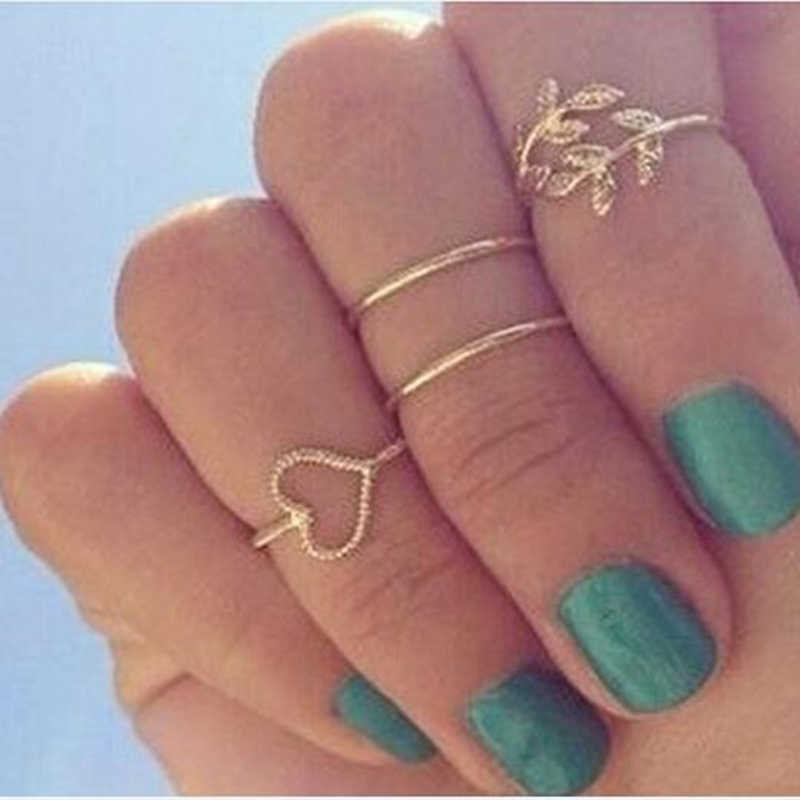 2019 cheap jewelry 4pcs/set gold crystal love heart rings femme stacking charm leaf midi knuckle ring set for women anel anillos