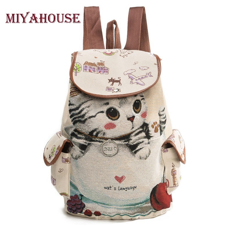 Miyahouse Cute Cat Backpack Women Canvas Backpack Drawstring Printing Backpacks For Teenage Girls Large Capacity School Bag makorster fashion letter pattern women backpack bag drawstring bagpacks canvas backpacks cheap printing feminine backpack mk232