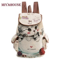 Miyahouse Cute Cat Backpack Women Canvas Backpack Drawstring Printing Backpacks For Teenage Girls Large Capacity School