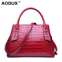 AODUX Europe America Crocodile Pattern Genuine leather Handbags Real leather Ladies Tote Shopping Shoulder Messenger Handle bag