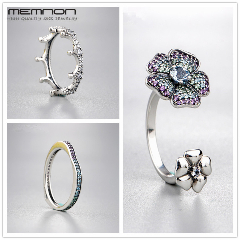 цены Memnon Glorius Blooms Enchanted Crown Multi-colour Arc of Love Rings for women 925 sterling fine silver jewelry ring RIP0161