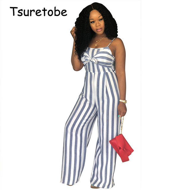 c06f091dab04 Tsurebote Strapless Casual Jumpsuit Summer Stripe Slim Women jumpsuit High  Mid Waist Wide Leg Elegant Jumpsuit Women Bow-Knot
