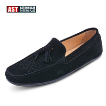 Brand New Mens Cow Suede Leather SLIP-ON Tassel Loafers Driving Shoes Business Man Summer Casual Fringe Shoes 5 Colors