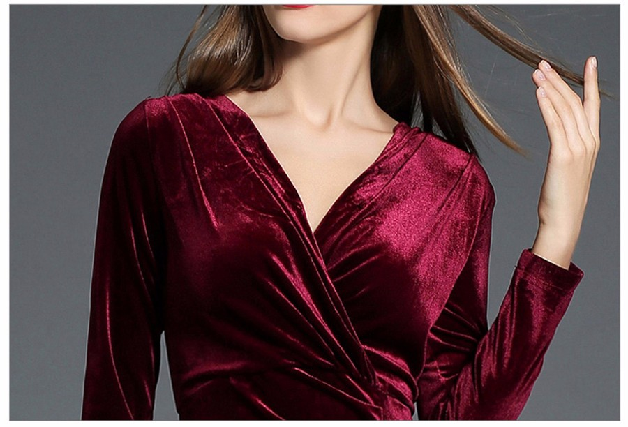 17 Autumn Winter Evening Party Dresses Red Velvet Dress Women Sexy High Split Long Maxi Dresses Christmas Runway Vestido Longo 22