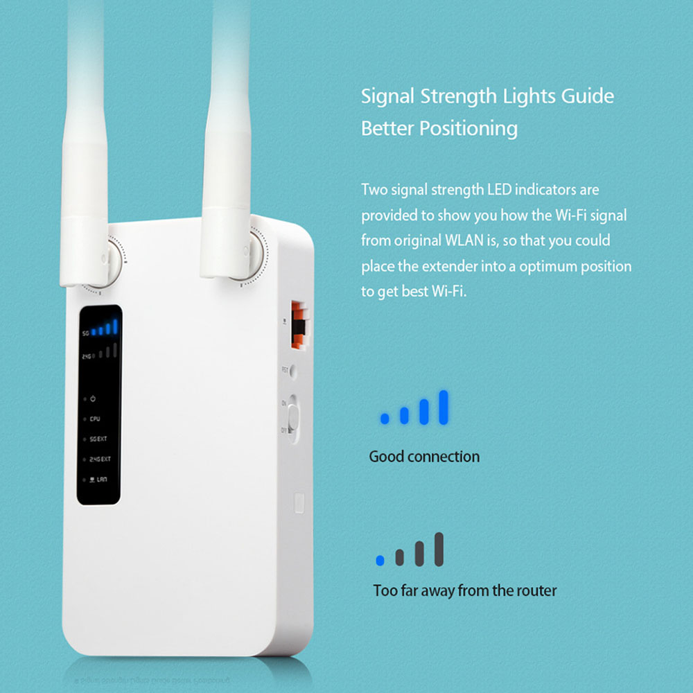 1200Mbps WiFi Repeater WiFi Booster WiFi Range Extender With 2 5dBi Antennas 2.4G+5G Frequency Range