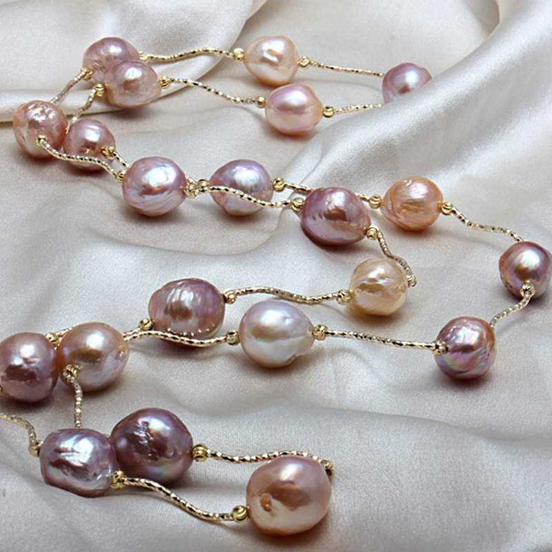 Really natural Metallic luster Big pearl 11 13mm Baroque Irregular Pearl Necklace Sweater chain for women Free shipping
