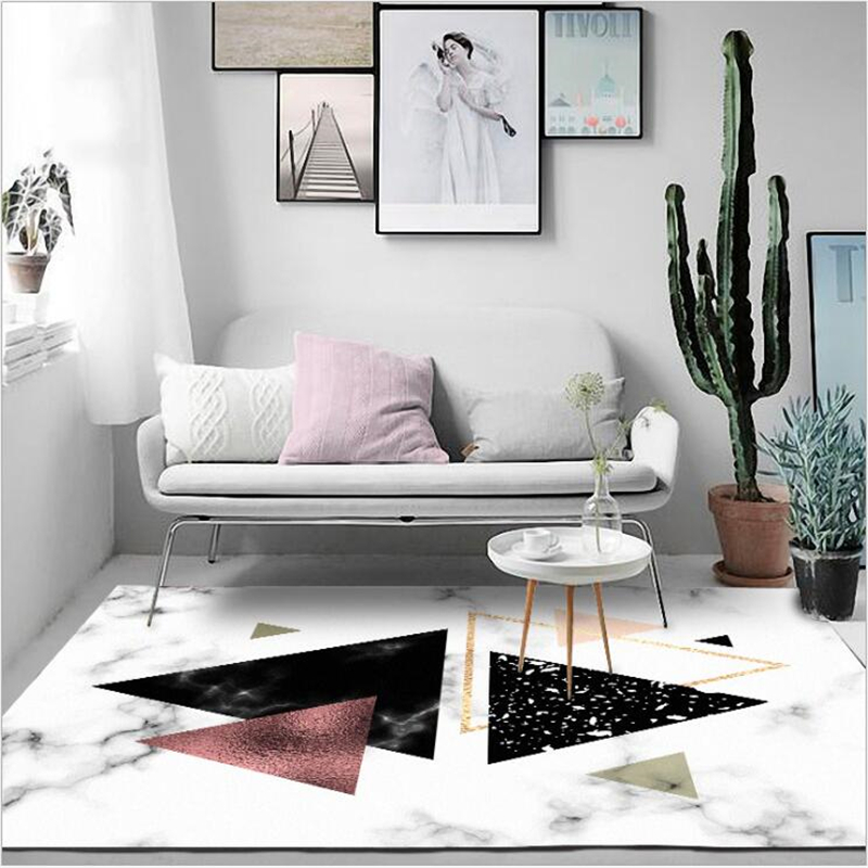 AOVOLL Area Rugs Carpet Bedroom Modern Nordic Imitation White Black Marble Geometric Row Door Mat Bedroom Living Room Carpet