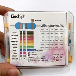 600 шт./лот 30Values * 20 шт. 1% 1/4 Вт Резистор пакет набор diy Металл плёнки Резистор Комплект применение цветное кольцо сопротивление (10 Ом ~ м 1 м Ом)
