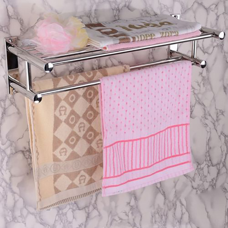 Stainless Steel Towel Rack Luxury Solid Polished Chrome Towel Rack Towel Wall Shelf Bathroom