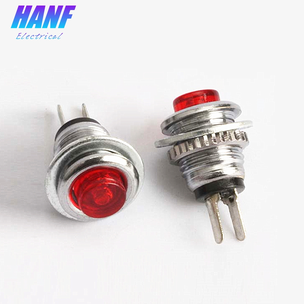10pcs 8mm 1NO Mini Metal Push Button Switch High Head Self-reset 2Pins Red Green 1A/125V Momentary