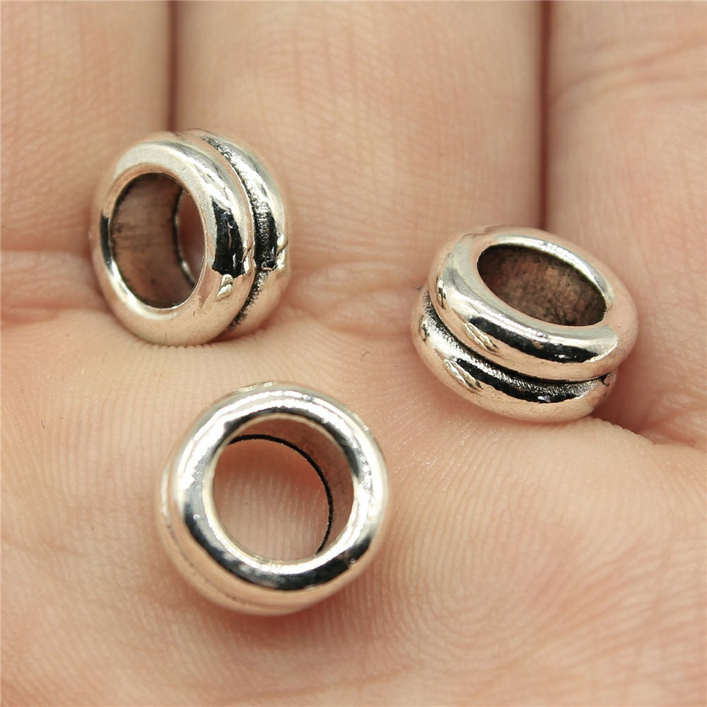 WYSIWYG 12pcs 10*10*5mm Hole Size 6mm European Big hole beads spacer beads Components Jewellery Making Findings for DIY Craft