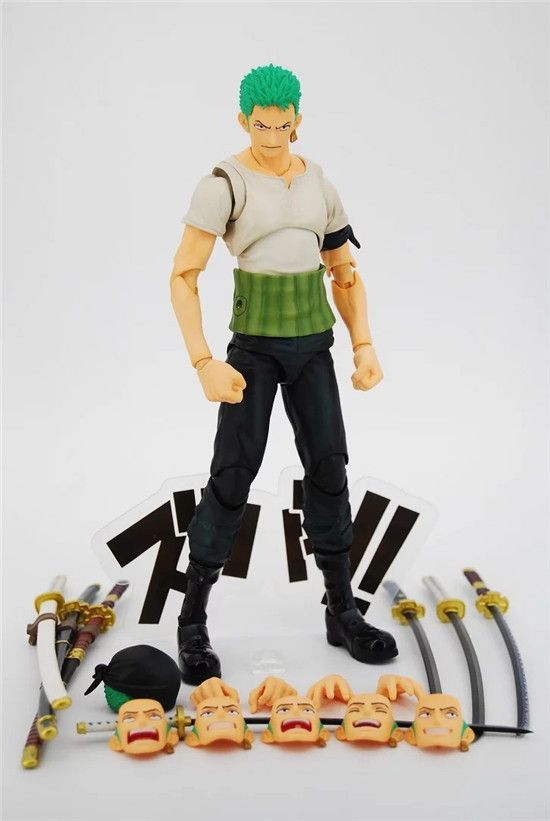 18CM pvc Japanese anime figure ONE PIECE Roronoa Zoro adjustable multi assmebly action figure collectible model toys for boy one piece action figure roronoa zoro led light figuarts zero model toy 200mm pvc toy one piece anime zoro figurine diorama