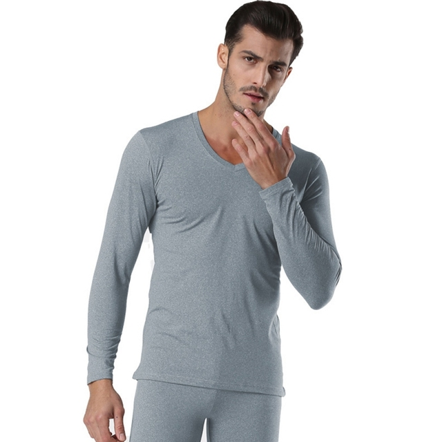 94f665d2077b Winter Pullover Men Thermal Underwear Set Black Grey V Neck Seamless Winter  Warm Tops & Pants 2 Piece Male Clothing Set New