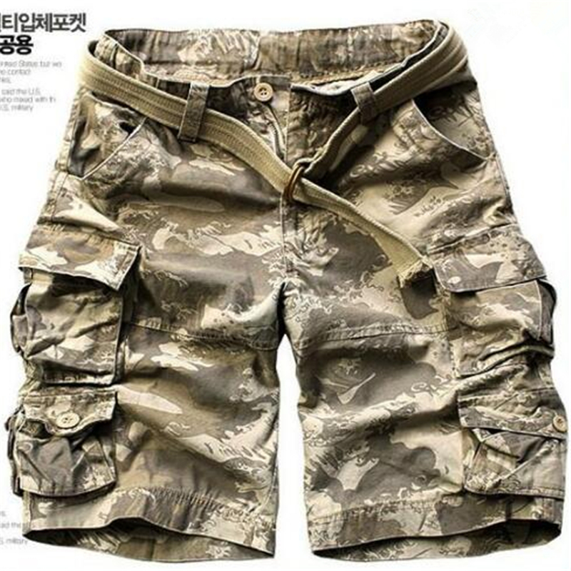High Quality 100% Cotton Men's Camouflage Shorts Summer Army Cargo Shorts Workout Shorts Loose Casual Trousers Within Belt S-3XL