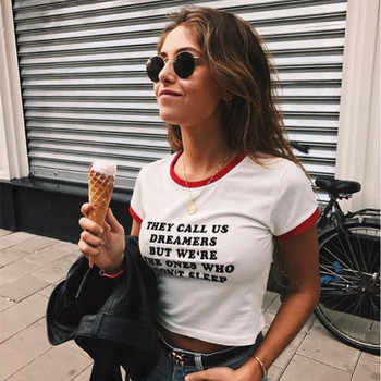 Casual Letter Crop Tops T shirts With Sayings For Teenage Girls Short Sleeve White Tee