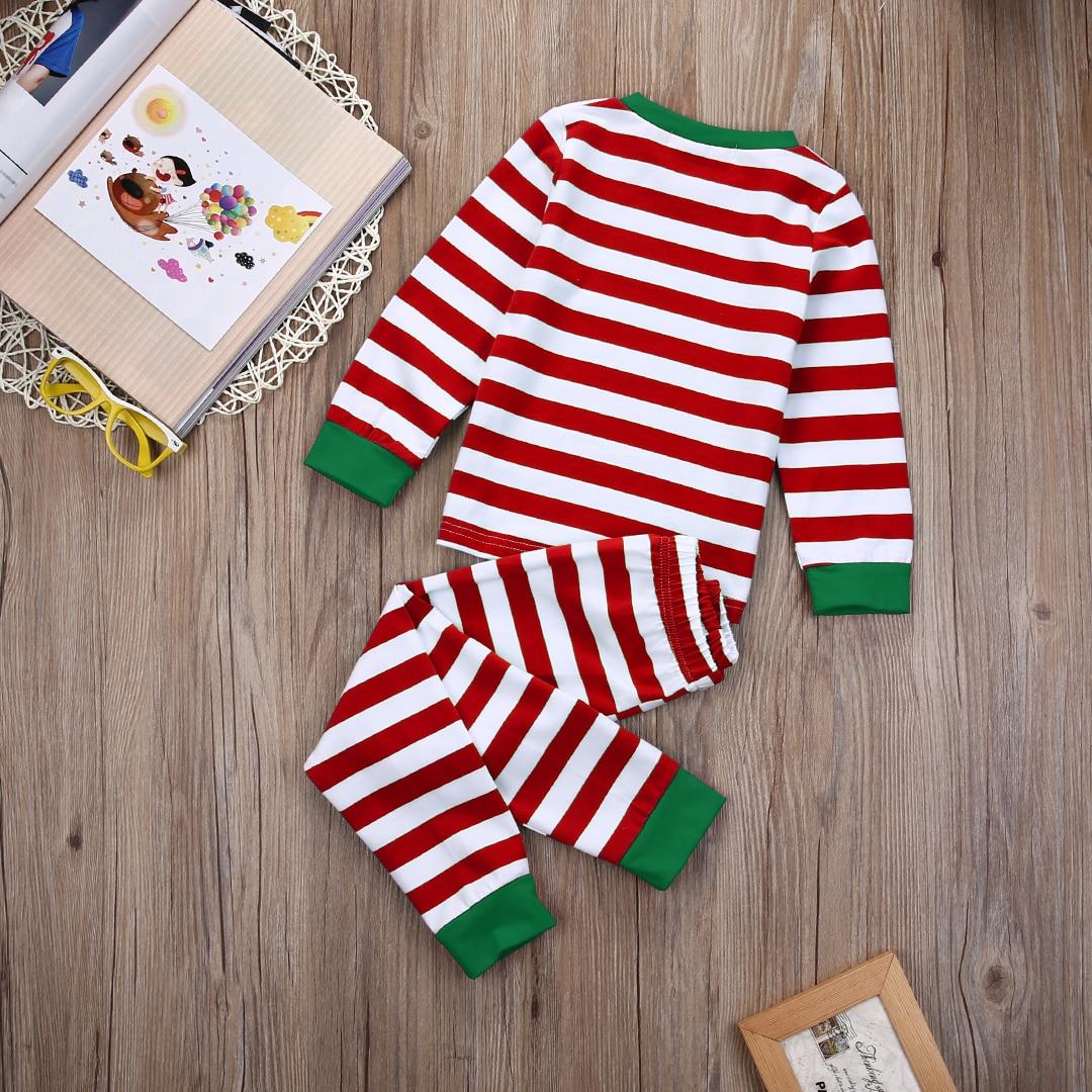 Family Christmas Pjs Clothing Set Adult Kids Xmas Striped Sleepwear ...